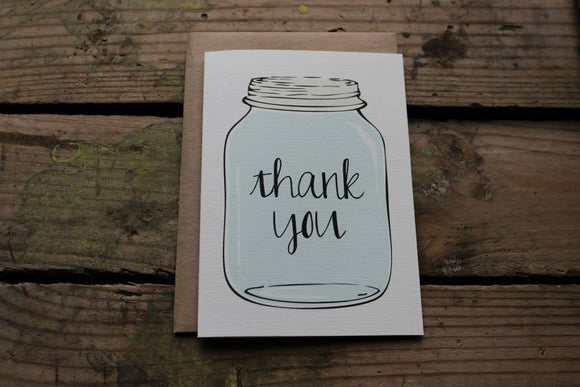 Mason Jar Thank You Card Aqua
