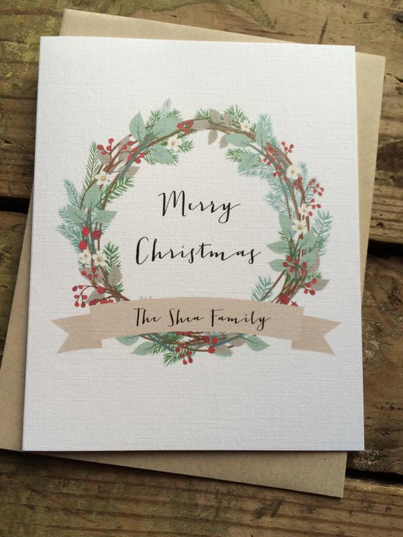 Personalized Wreath Merry Christmas Card