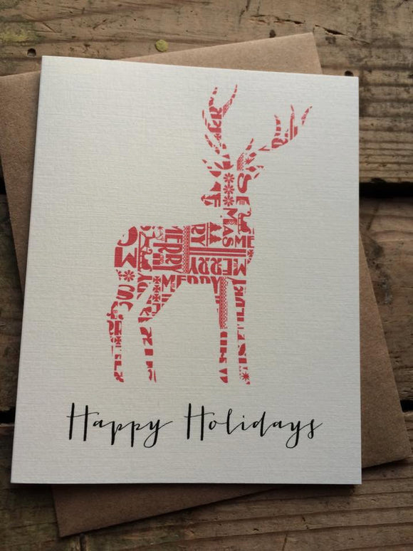 Reindeer Happy Holidays Christmas Card
