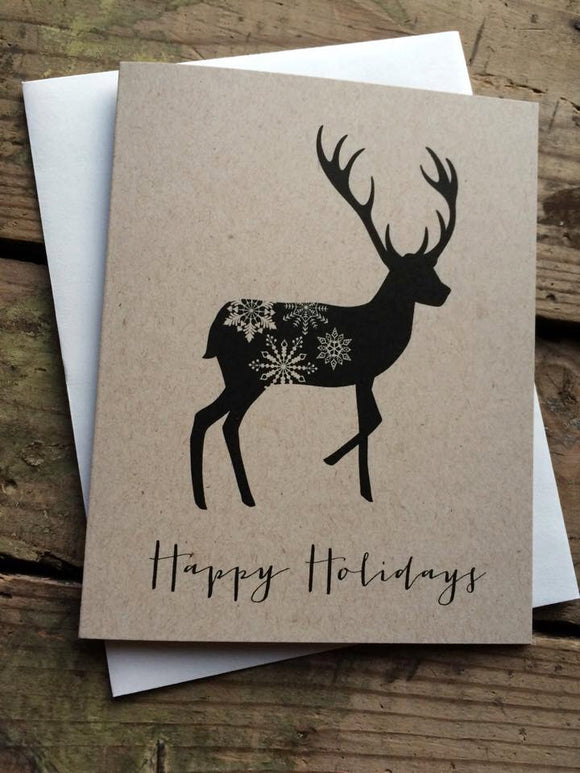 Rustic Reindeer Happy Holidays Card