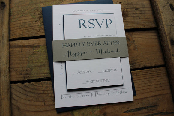 navy and gray nautical destination wedding invitation