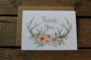 Watercolor Antler Thank You Cards