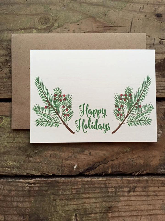 Happy Holidays Holly Berry Card