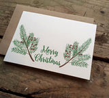 Merry Christmas Holly Berry Cards Set of 10