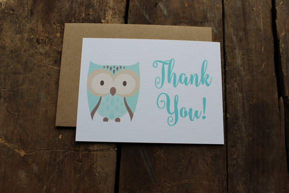 Owl Baby Shower Thank You Card