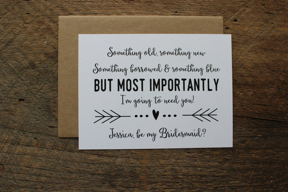 Something Old, Something New Bridesmaid Card