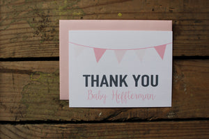 Pink Banner Baby Shower Thank You Cards Set of 10