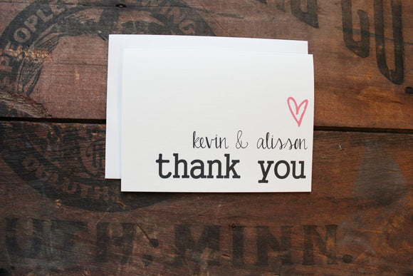 heart and name thank you cards