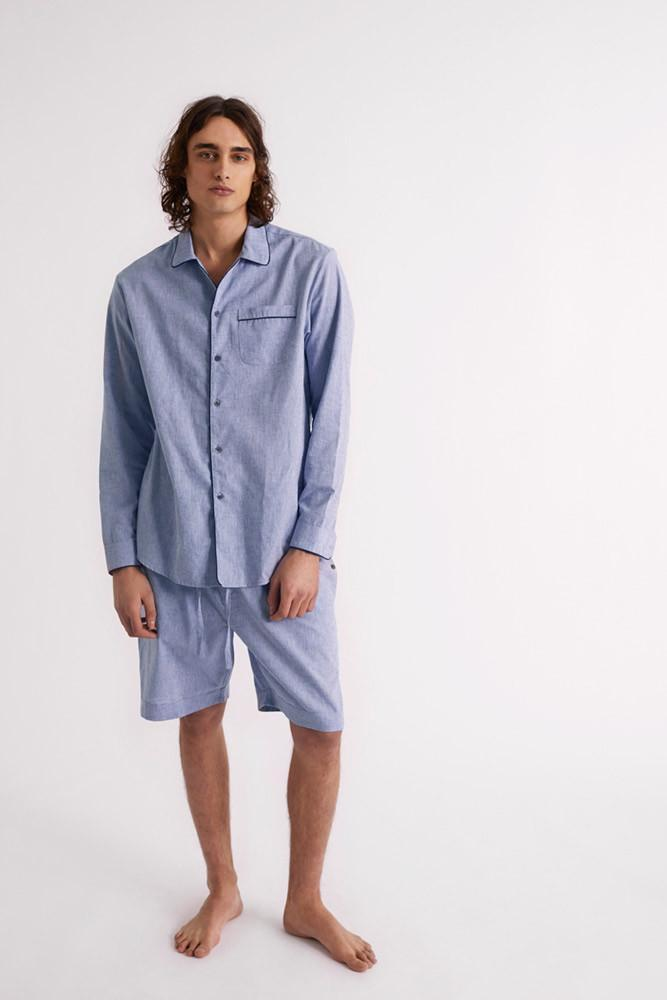 Mens Blue Premium Cotton/Linen Collared Pyjama Set