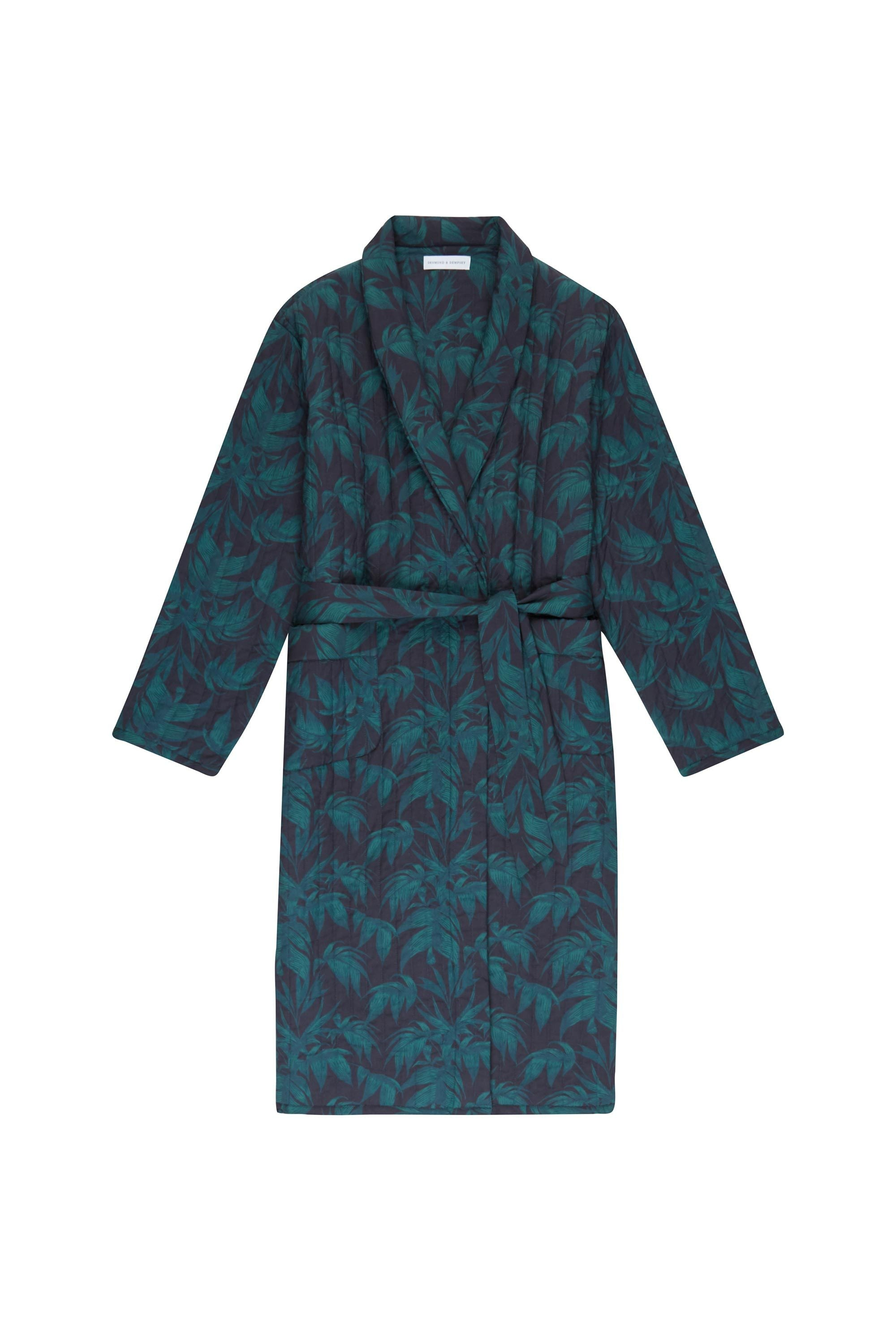 Mens Byron Tropical Print Quilted Dressing Gown Robe Desmond Dempsey