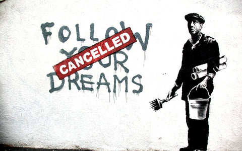 We believe we have to follow our dreams. We believe in making our own choices. We believe in living a conscious life rather than leaving things to luck. Banksy - Follow your dreams - www.NaaiAntwerp.com #banksy #followyourdreams #graffiti #streetart #NaaiAntwerp