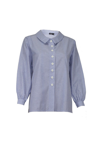 Bluesaki summer casual big stripe shirt with puffed sleeves www.naaiantwerp.com