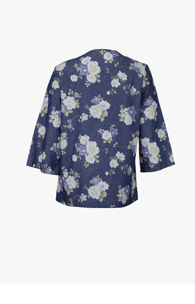 Iro denim kimono with purple flowers *Find it at www.naaiantwerp.com #NaaiAntwerp