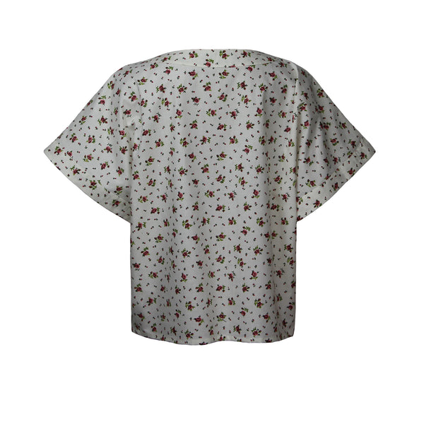 White floral shirt with short sleeves