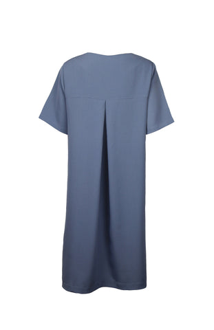 Grey blue dress with pleat in the back and curved hemline in cupro