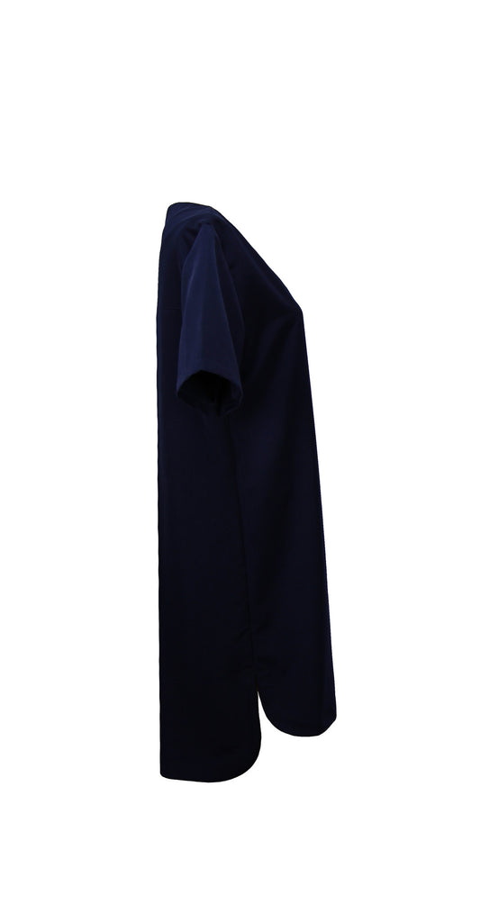 Midnight blue dress with pleat in the back and curved hemline in cupro