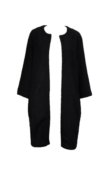 Black bouclé lightweight coat with three-quarter length sleeves and checkered lining