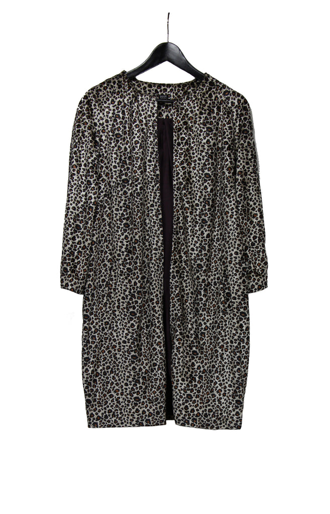 Leopard lightweight coat with three-quarter length sleeves