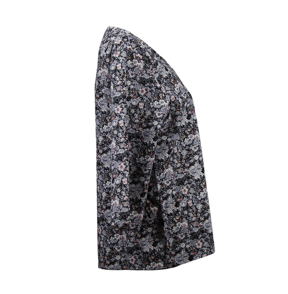 Grey floral lightweight jacket with Japanese kimono sleeves
