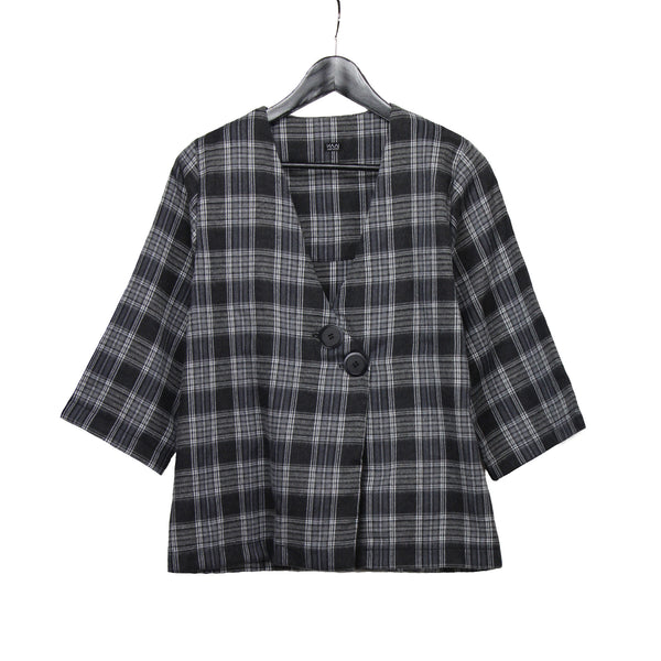 Grey plaid lightweight jacket with Japanese kimono sleeves