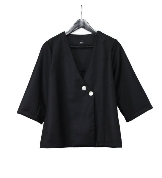 Black woolen lightweight jacket with ivory buttons
