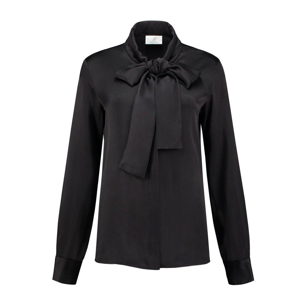 Silk black bow blouse