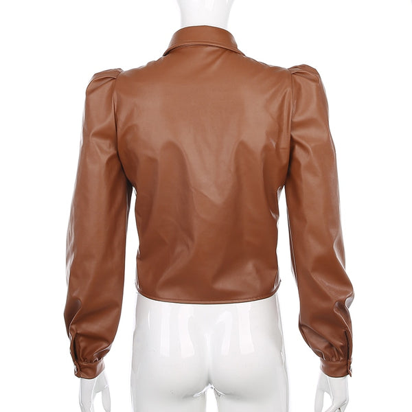 Leather puff sleeve blouse