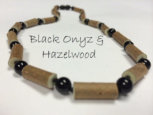 "19"" Hazelwood (For Heart Burn, Acid Reflux, Eczema) Polished Mixed With Black Onyx (adult ADHD, Anxiety, Stress) Necklace For Adult, Teenager"