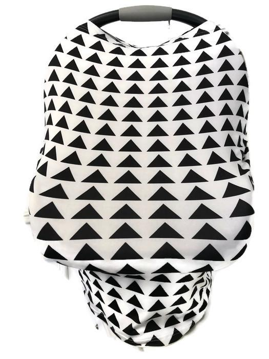 5-in-1 Multi Cover Infant Car Shopping Nursing Cover White Black Triangle