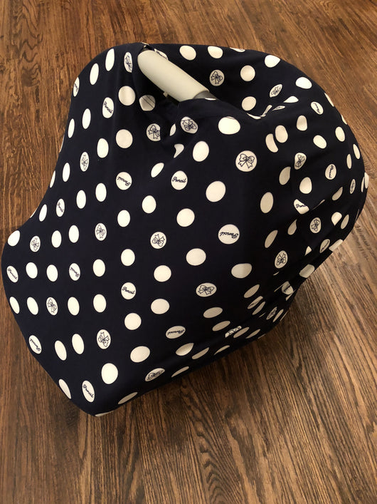 5-in-1 Multi Use Cover -Infant Car Seat And Shopping Cart Cover Nursing Cover Up In Blue And White Dots