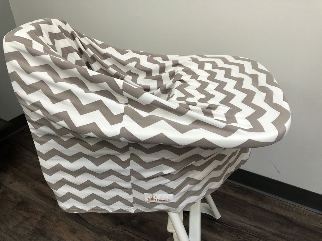5-in-1 Multi Use Cover -Infant Car Seat And Shopping Cart Cover Nursing Cover Up In Grey Chevron