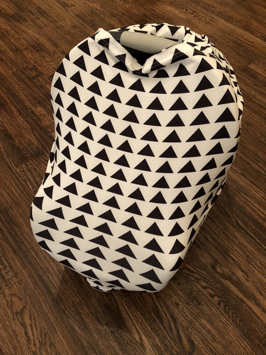 5-in-1 Multi Use Cover -Infant Car Seat And Shopping Cart Cover Nursing Cover Up In White Black Triangle