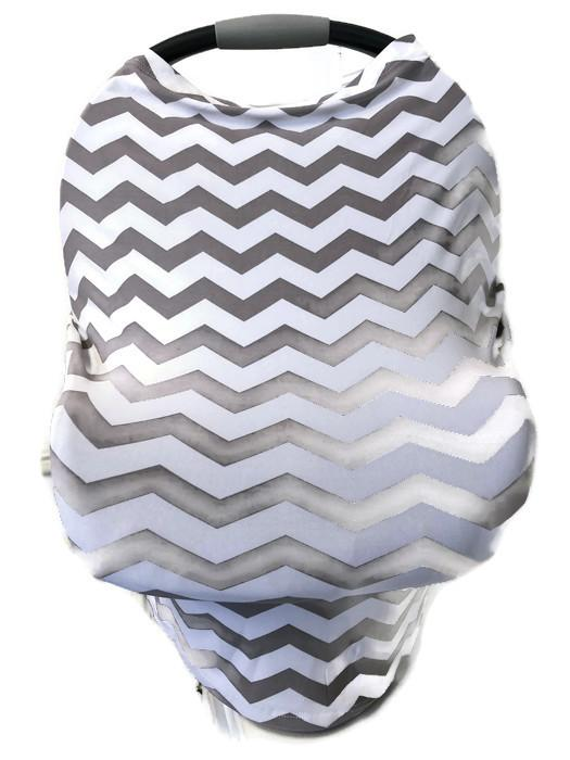 5-in-1 Multi Use Cover Infant Car Seat Shopping Cart Nursing Cover Grey Chevron