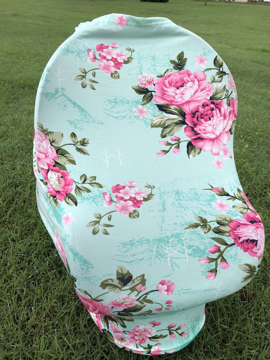 5-in-1 Multi Use Cover Infant Car Seat Shopping Cart Nursing Cover Mint Flower
