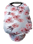 5-in-1 Multi Use Cover Infant Car Seat Shopping Cart Nursing Cover Pink Flowers