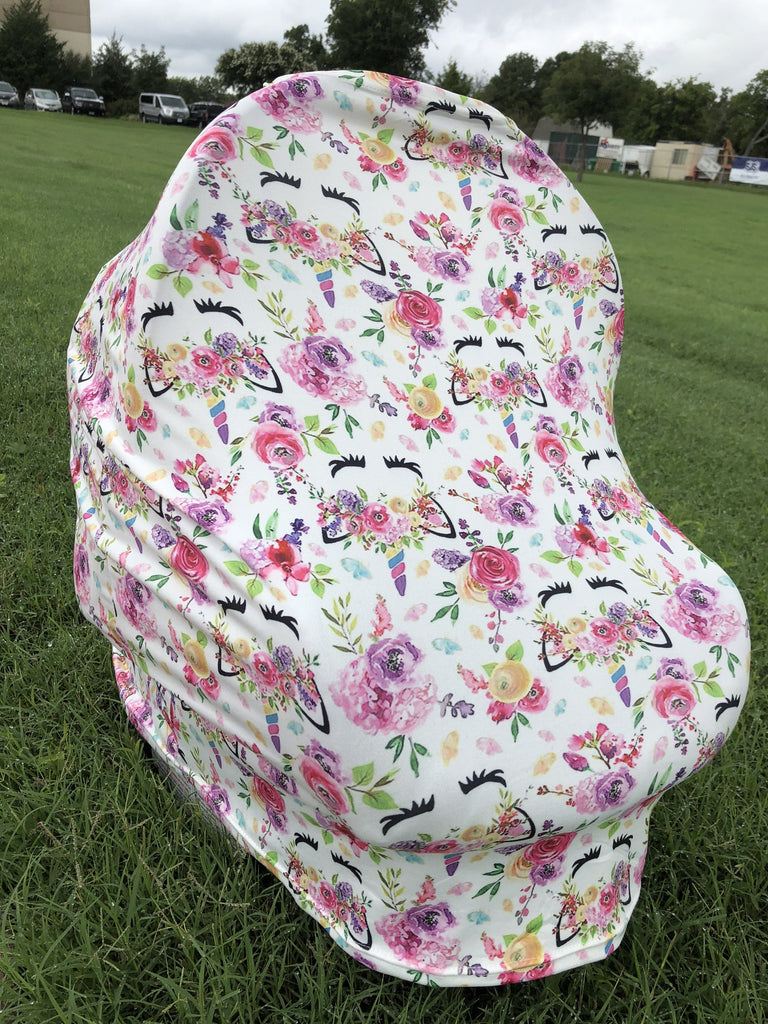5-in-1 Multi Use Cover Infant Car Seat Shopping Cart Nursing Cover Pink Unicorn