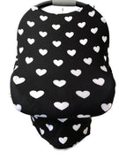 5-in-1 Multi Use Cover Infant Car Shopping Cart Nursing Cover Black White Hearts