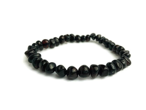 6.5 7.5 Inch Polished Black Cherry Baltic Amber Bracelet