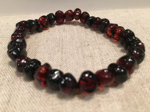7.5 Inch Raw Polished Black Cherry Baltic Amber Bracelet Big Kid, Child, Or Adult