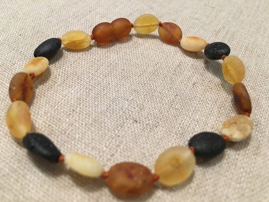 7.5 Inch Raw Unpolished Multi Baltic Amber Bracelet Bean Big Kid, Child, Or Adult