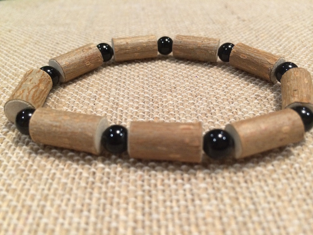 "8"" ADHD Black Onyx Hazelwood (For Heart Burn, Acid Reflux, Eczema)  Bracelet For Adult, Teenager"
