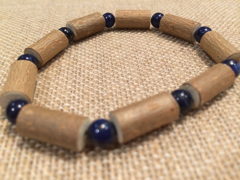 "8"" ADHD Lapis Lazuli Hazelwood (For Heart Burn, Acid Reflux, Eczema)  Bracelet For Adult, Teenager"