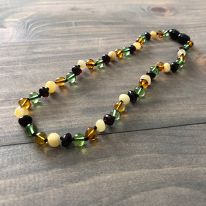 Polished Caribbean Baltic Amber Necklace Newborn 11 12.5 inch