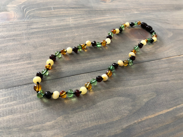 Polished Caribbean Baltic Amber Necklace Newborn 11 12.5 inch 1