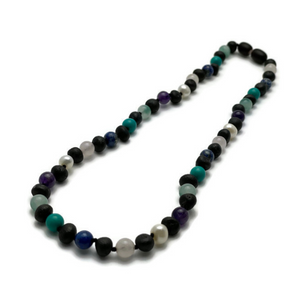 12.5, 14 in Baltic Amber Necklace Raw Cherry Mix with Pearl Jade Turquoise Amethyst Lapis