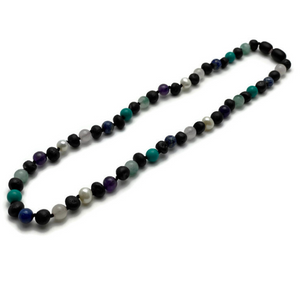 Baltic Amber Necklace Adult Raw Cherry Mixed with Pearl Jade Turquoise Lapis Amethyst