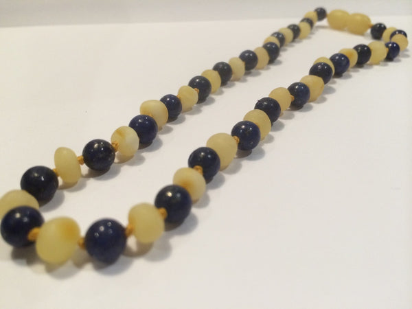 ADHD Anxiety Arthritis Carpal Tunnel Raw UnPolished Raw Milk Baltic Amber And Lapis Lazuli 17 Inch Baltic Amber Necklace For Big Kid, Teenager, Or Adult