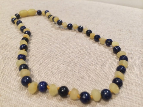 ADHD Anxiety Teething Raw UnPolished Milk Lapis Lazuli Baltic Amber Necklace For Baby, Infant, Toddler, Big Kid.
