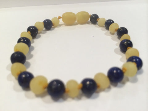 ADHD Arthritis Carpal Tunnel Raw UnPolished Milk Lapis Lazuli Baltic Amber Bracelet For Big Kid, Teen, Adult.