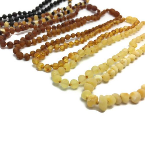 Baby Baltic Amber Necklace - 11 Authentic Baltic Amber Teething Necklace Raw Polish Infant Screw Pop Safety